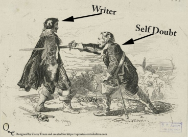 An image showing how writers sometimes deal with self-doubt. If you like this swing by https://quintessentialeditor.com for daily writing tips and general tomfoolery.