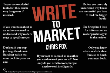 A collection of phrases and quotes from the book, Write to Market, written by Chris Fox. This is a solid book read for anyone interested in understanding market trends in writing and how to adjust your writing to meet them. Think this is cool? Swing by https://quintessentialeditor.com for more collages, daily writing tips, and plenty of other tomfoolery.